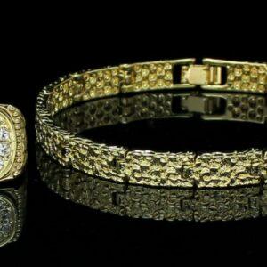 Men's 2pc Nugget Design 8mm Bracelet Icy Ring Set