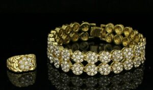 2pc Cluster 2 Row Bracelet And Iced Out Nugget Ring Set
