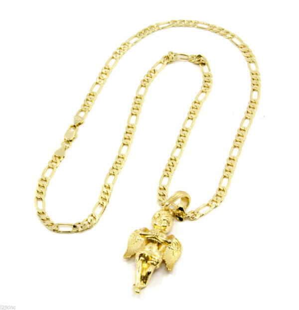 """Angel Piece With 24"""" Figaro Chain"""