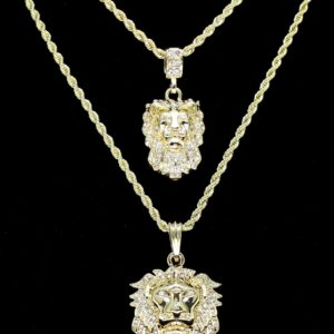 2pc Lion Pendants With Rope Chains Set