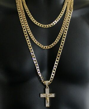 "3pc Set 20"" 24"" 30"" Cuban Links And Iced Out Cross"