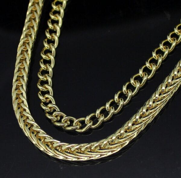 "2pc Set 24"" Franco Box + Cable Chain 14k Gold Plated Hip Hop Necklaces"