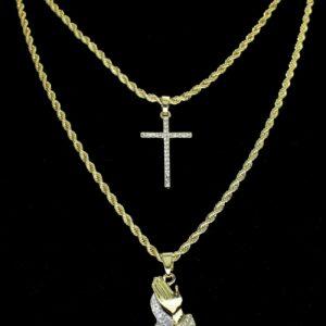 2pc Choker Set Thin Cross + Praying Hands Pendants