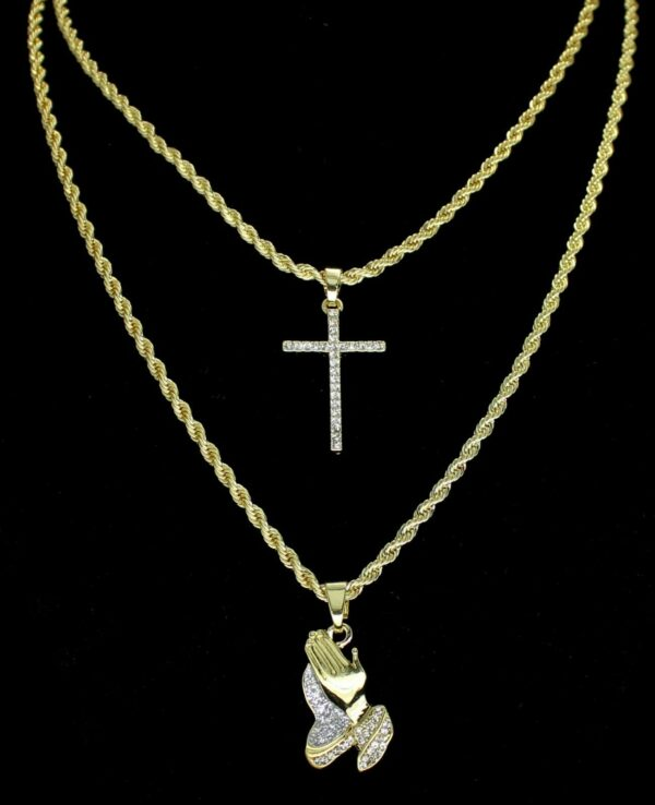 2pc Choker Set Thin Cross + Praying Hands Pendants