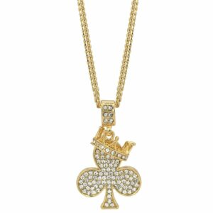 "Crown Clover Pendant w/24"" Cuban Chain"
