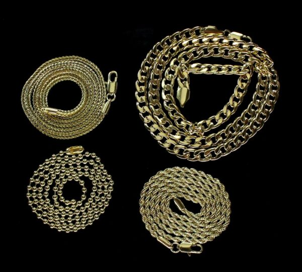 4 Chain Set Bead, Rope, Franco, Cuban Necklaces