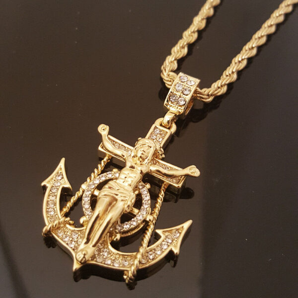 "Jesus Anchor Cross Pendant w/30"" Rope Chain"
