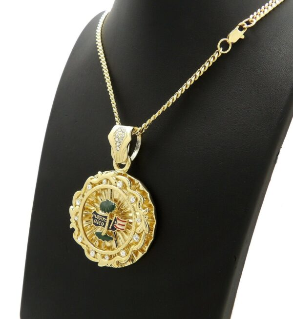 "PUERTO RICO PENDANT With 22"" 4mm CUBAN CHAIN"