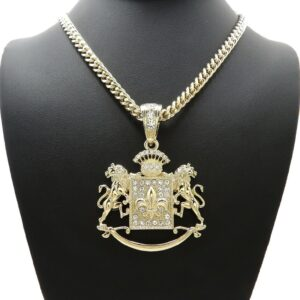 """Iced Royal Lion Bling Pendant With 24"""" Cuban Link"""