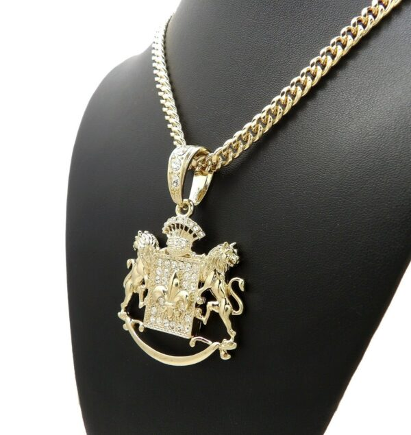 "Iced Royal Lion Bling Pendant With 24"" Cuban Link"