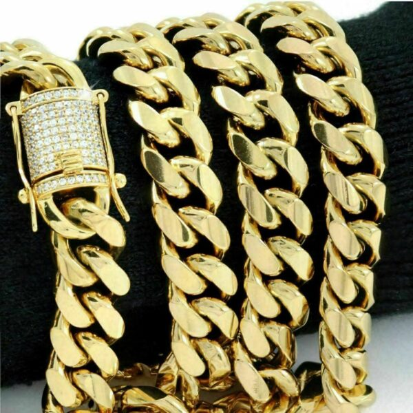 Miami Cuban Link Chain Stainless Steel 14mm Diamond Clasp