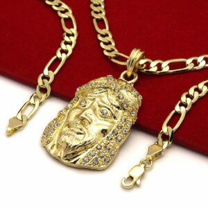 "Iced Out Jesus Piece Pendant With 5mm 24"" Figaro chain"