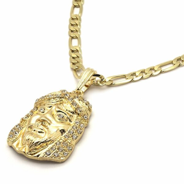 """Iced Out Jesus Piece Pendant With 5mm 24"""" Figaro chain"""