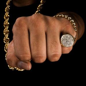 Iced Round Halo Sided Men's Pinky Ring AAA+ Zircon Stones