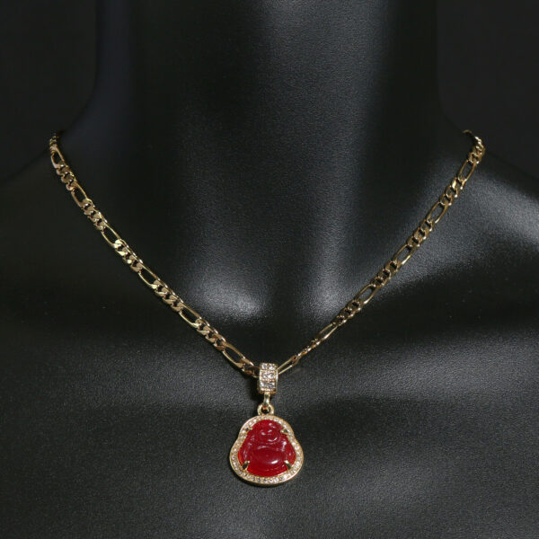 """Buddha Red Resin Charm With 5mm 18"""" Figaro Necklace Choker"""