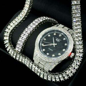 Iced Silver Watch 2 Row Tennis Chain Bracelet Set