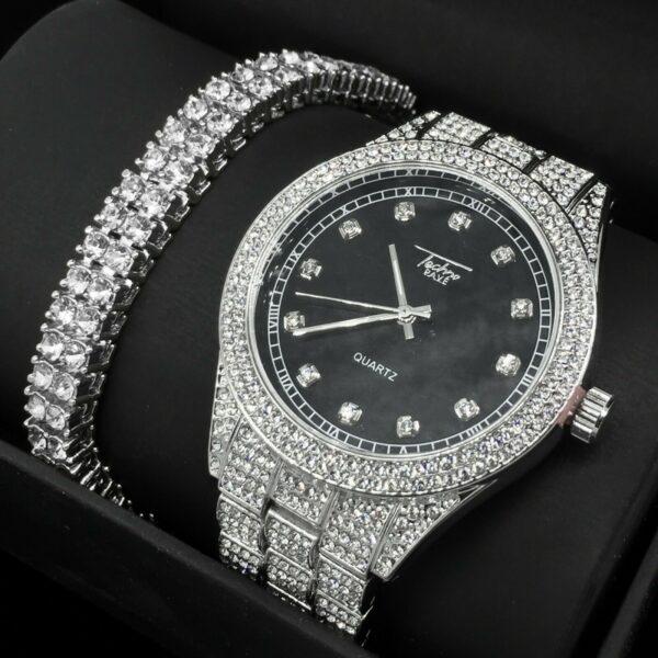 Iced Silver Watch 2 Row Tennis Chain Bracelet Set