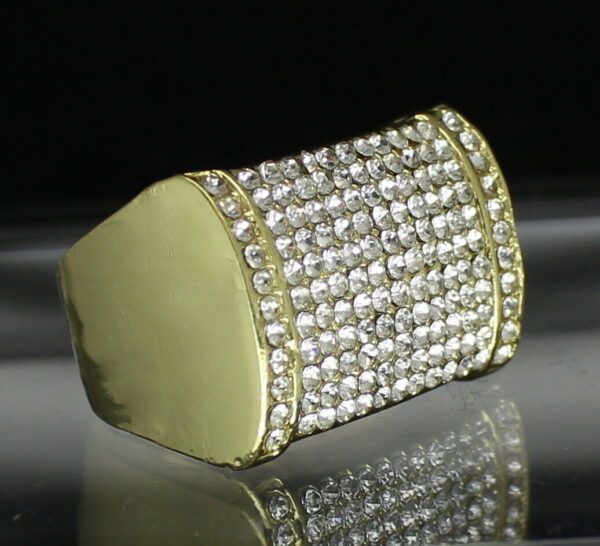 Iced Pinky Ring Cz Rectangle Band Sizes 8 - 12