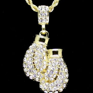"Iced Boxing Gloves Pendant w/24"" Rope Chain"