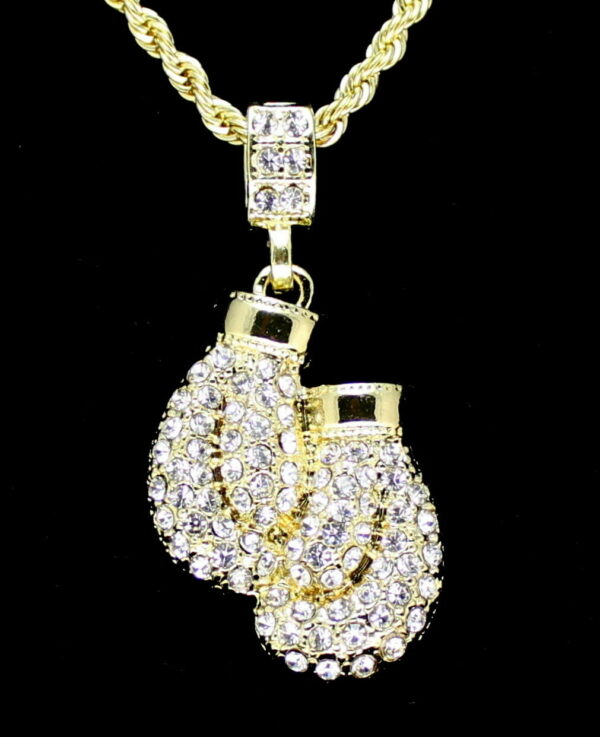 """Iced Boxing Gloves Pendant w/24"""" Rope Chain"""