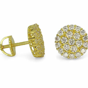 Iced Cluster Cz Studs Screw Back Unisex Earrings