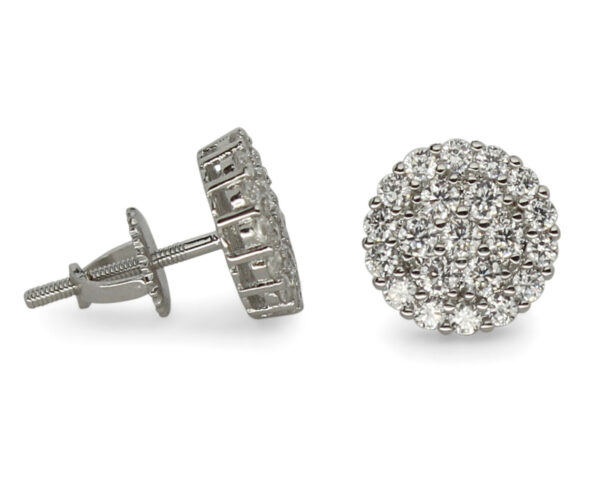 Iced Cluster Cz Studs Screw Back Unisex Earrings