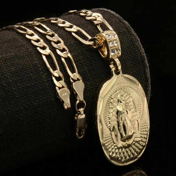 "Oval Curve Guadalupe Pendant w/ 5mm 24"" Figaro Chain"