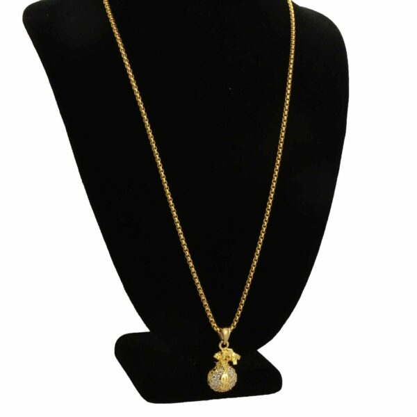 Iced Money Bag Pendant With Round Box Link Chain