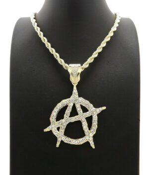 "Icy Anarchy Pendant With 5mm 30"" Rope Chain"