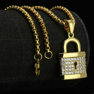 Icy Lock Pendant With Round Box Link Chain