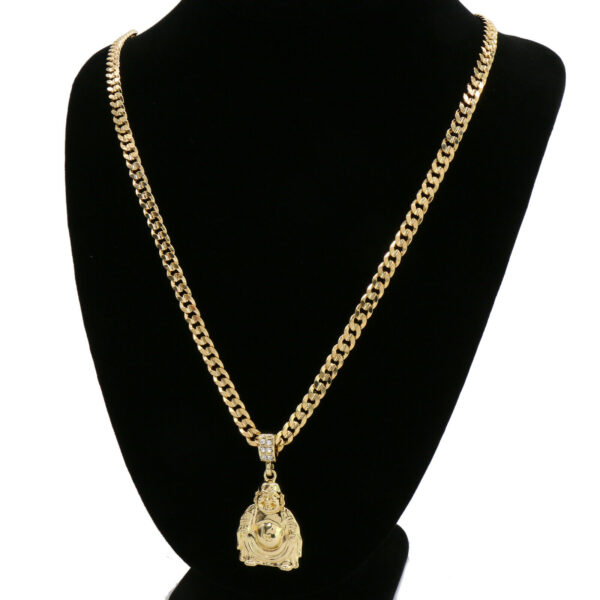 """Happy Buddha Pendant With 6mm 24"""" Cuban Chain Necklace"""