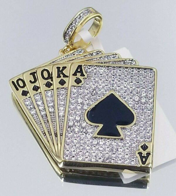 ICY ROYAL FLUSH CHARM WITH VVS1 MIAMI CUBAN LINK OR TENNIS CHAIN