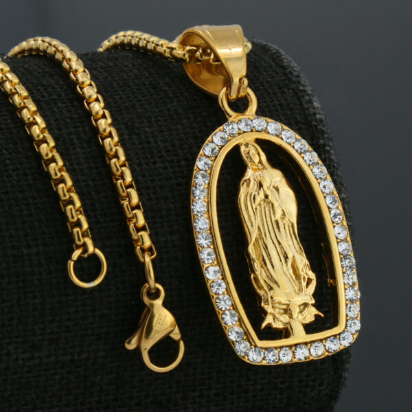 Virgin Of Guadalupe Pendant Steel Necklace Box Link Chain
