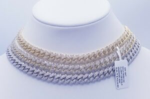 10MM SOLID MIAMI CUBAN LINK 36CT VVS1 CLARITY CRYSTALS