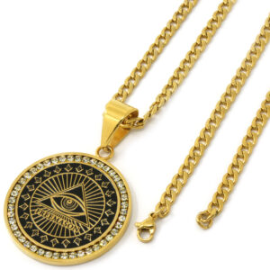 "Free Mason Medallion Pendant w/4mm 30"" Cuban Chain Link"