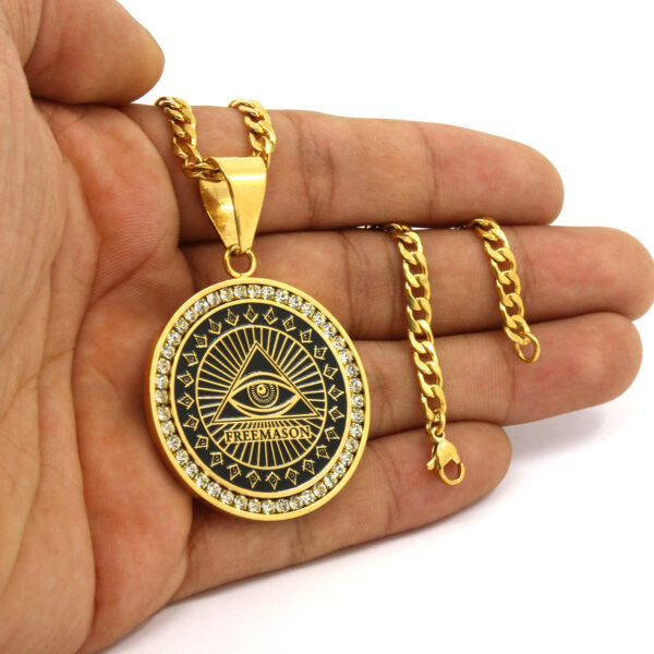 "Free Mason Medallion Pendant w/4mm 30"" Cuban Chain Link"