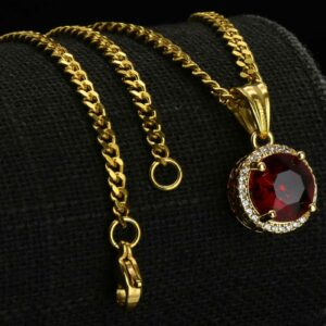 "Round Red Ruby Charm w/2.5mm 24"" Cuban Chain"