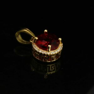 Round Red Ruby Charm w/2.5mm 24
