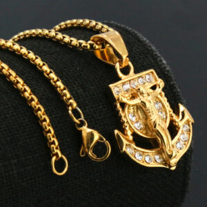 "Jesus Anchor Pendant w/24"" Box Chain Necklace"