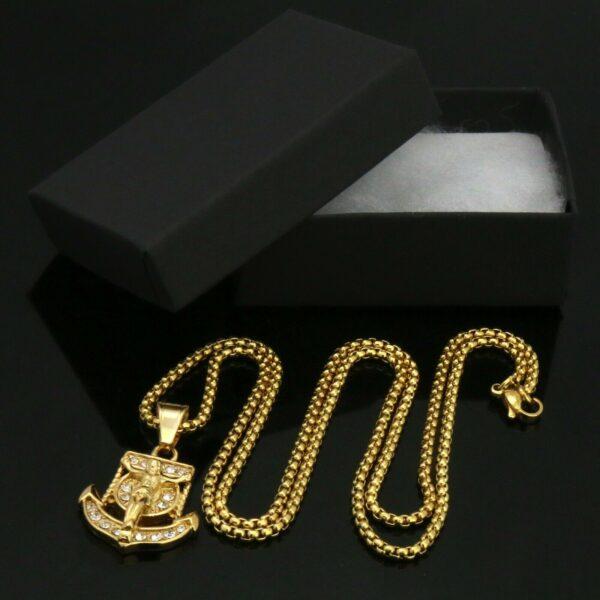 "Jesus Anchor Pendant w/24"" Box Chain Necklace"