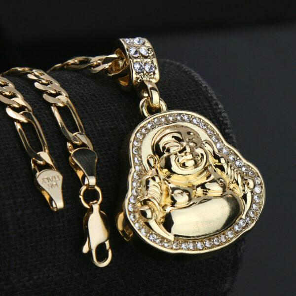 "Icy Buddha Charm w/18"" Figaro Necklace Choker Chain"