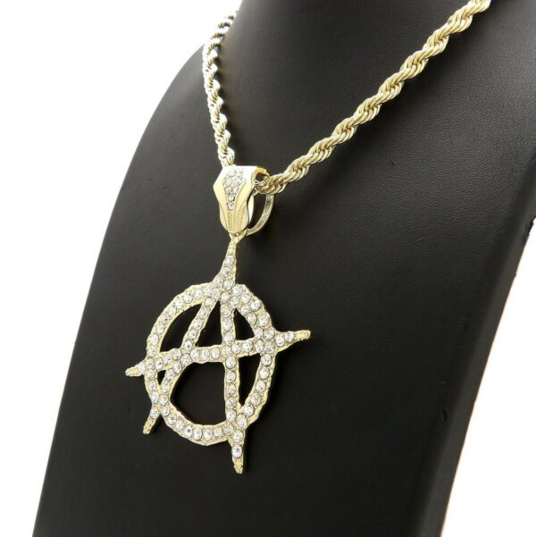 """Icy Anarchy Pendant With 5mm 30"""" Rope Chain"""