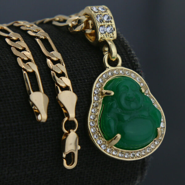 "Buddha Money Green Resin Pendant w/18"" Figaro Necklace Choker Chain"