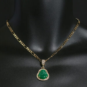 Buddha Money Green Resin Pendant w/18