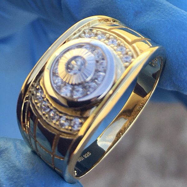 Men's 2 Tone Solitaire Ring Sizes 7-12