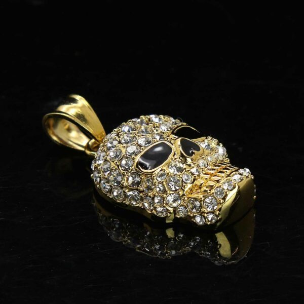 Skull Head Pendant Gold Stainless Steel Necklace Round Box Link Chain