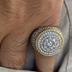 Flower Cluster Ring 20MM 2-Tone Round Sizes 7-13