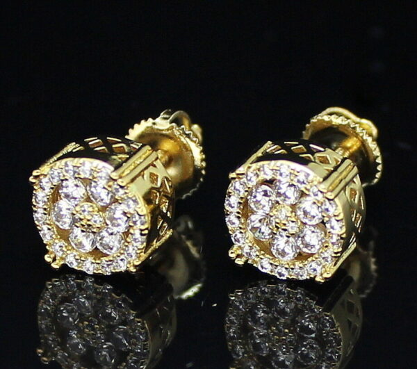 Fashion Iced 9mm Round Screw Back Stud Earrings