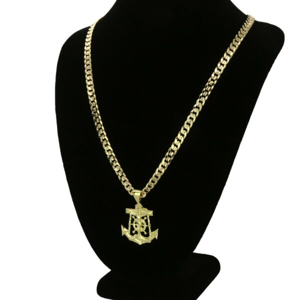"Jesus Christ Anchor Pendant With 6mm 30"" Cuban Link Chain"