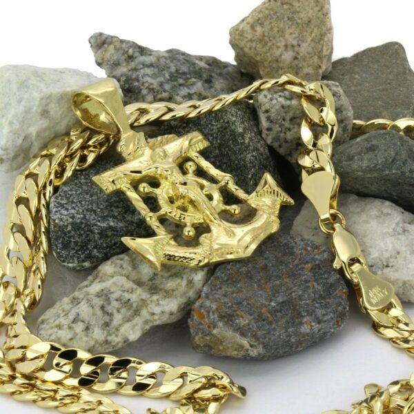 """Jesus Christ Anchor Pendant With 6mm 30"""" Cuban Link Chain"""